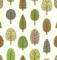 Seamless pattern with hand-drawn trees vector image vector image