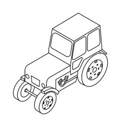 Tractor icon in outline style isolated on white vector