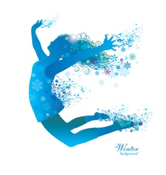 winter girl with snowflakes vector image
