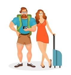 Young couple the travelers bearded hipster male vector