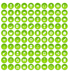 100 cafe icons set green vector