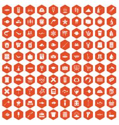 100 fish icons hexagon orange vector