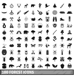 100 forest icons set in simple style vector