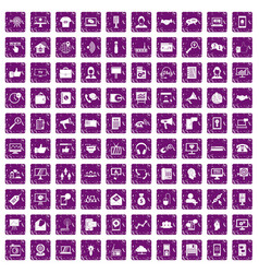 100 help desk icons set grunge purple vector image