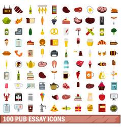 100 pub essay icons set flat style vector