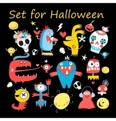 Set colored monsters vector