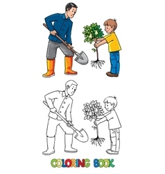 Boy with a tree and man with shovel the gardeners vector