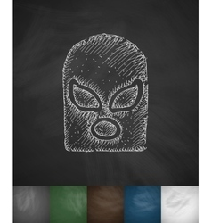 Mask fighter icon hand drawn vector