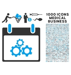 Mechanics gears calendar day icon with 1000 vector