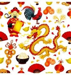 Chinese New Year of Rooster seamless pattern vector image