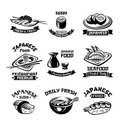 Seafood sushi japanese restaurant icons vector