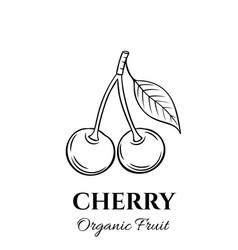 Hand drawn cherry icon vector