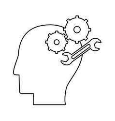 human head gear spanner outline vector image
