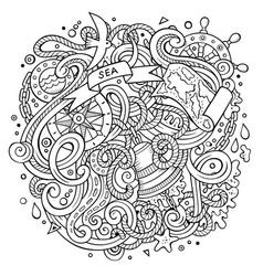 Cartoon cute doodles hand drawn nautical vector