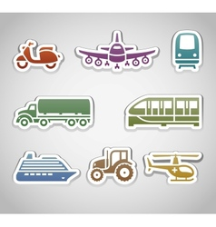 Flat retro color stickers - set six vector