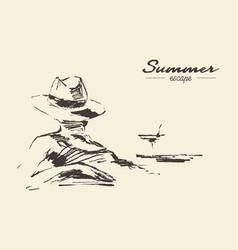 summer vacation woman beach drawn sketch vector image