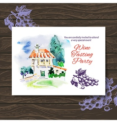 Wine tasting party card design vector
