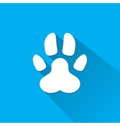 Flat dog paw silhouette with shadow vector