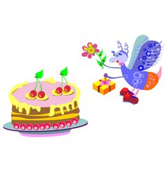 Cake and a gift from a fly on a white background vector