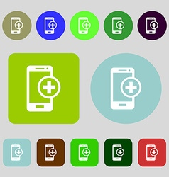 Mobile devices sign icon with symbol plus 12 vector