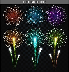 Set of 6 realistic fireworks different colors vector