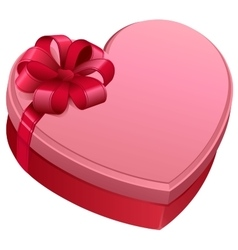 Pink gift box in heart shape gift box tied with vector