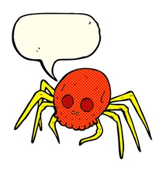 Cartoon spooky halloween skull spider with speech vector