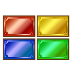 Colored metallic plaques vector