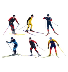 Six skiers vector