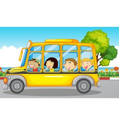 Kids riding on school bus vector