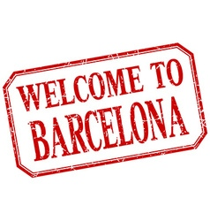 Barcelona - welcome red vintage isolated label vector