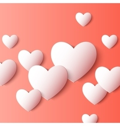 Abstract 3d paper heart shapes background vector