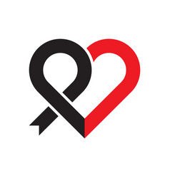 black ribbon and heart symbol vector image