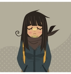 Cartoon sad girl mascot vector image vector image