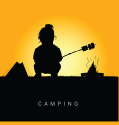 Child camping in nature silhouette color vector