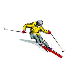 Color line sketch skier vector
