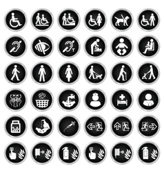 Disability people and medical Icon collection vector image