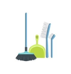 Floor dusting household equipment set vector
