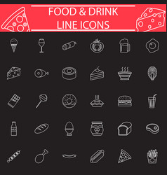 food and drink line icon set vector image vector image