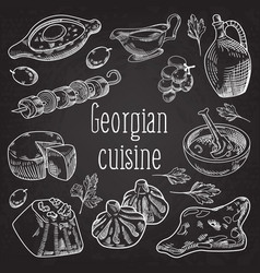 Hand drawn georgian food on chalkboard vector