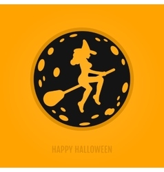 Happy halloween concept with moon and witch on a vector image vector image