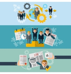 Human resources flat banners set vector