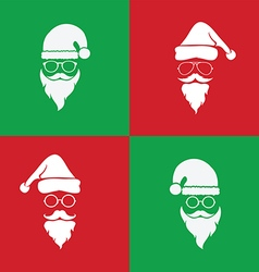 Image of santa hats and beards and eyeglasses vector