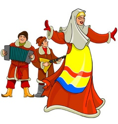 In the Russian national dress dancing woman vector image vector image