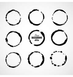 Ink grunge circle frames vector