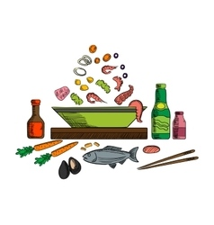 Seafood dish with salad ingredients vector