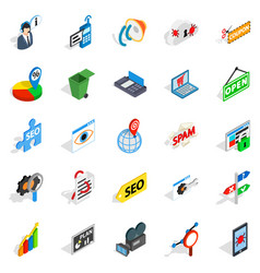 Seo icons set isometric style vector