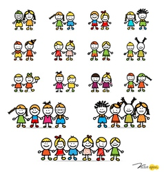Set of cute happy cartoon kids vector image