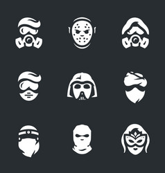 Set of halloween costume icons vector