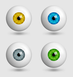 Set of realistic eyes with different colors of vector